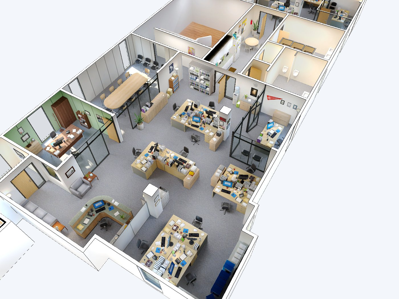 An interactive 3d model of dunder mifflin click the feet for Interactive office floor plan